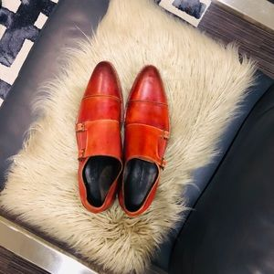 Custom Red Double Monk Shoes
